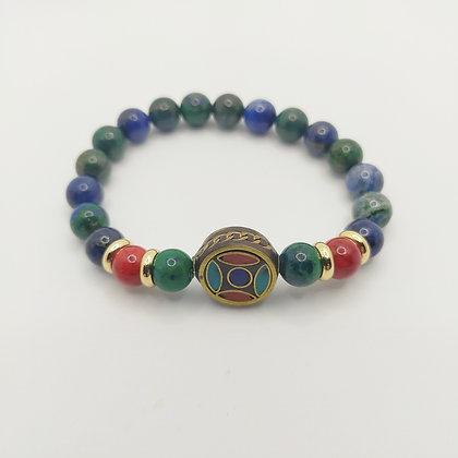 Bracelet chrysocolle/jade rouge, perle tibétaine