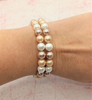Bracelet mémoire de forme en perles d'eau douce 3 couleurs