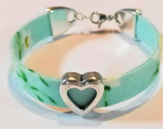 Bracelet enfant liberty turquoise/cœur argent