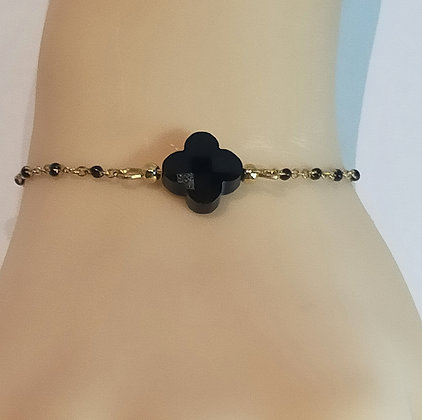 Bracelet doré/noir trèfle noir