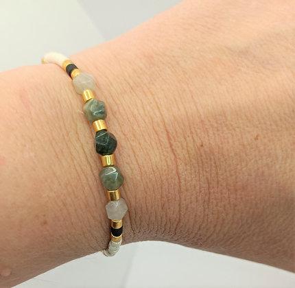 Bracelet jade vert blanc/noir/doré