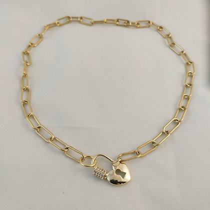 Collier grosse chaîne doré cadenas