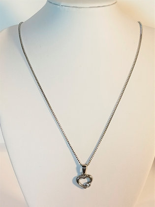 Pendentif cœur creux avec pierre argenté