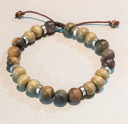 Perles en bois kaki + œil de tigre mat + métal argenté, ajustable