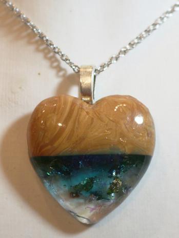 Coeur résine&polymère effet bois bleu