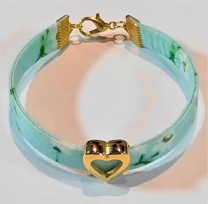 Bracelet enfant liberty turquoise/cœur doré