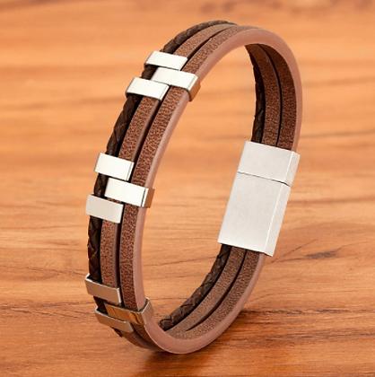 Bracelet tendance en cuir véritable marron 16