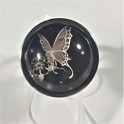 Bague réglable papillon ronde