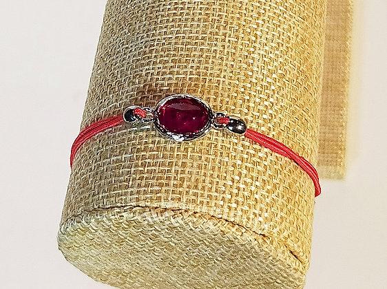Bracelet élastique argenté/rouge