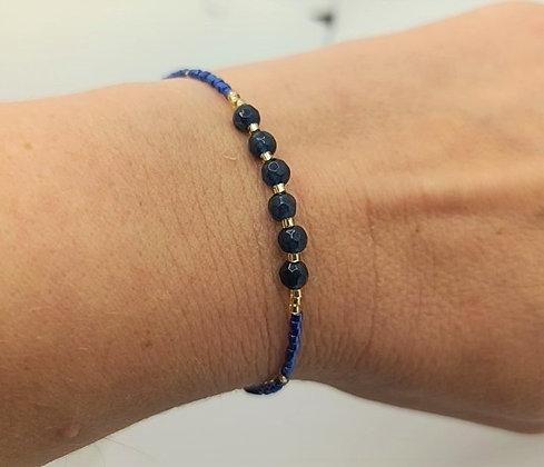 Bracelet jade bleu/doré