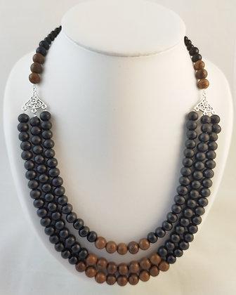 collier triple bois noir/bois zébré
