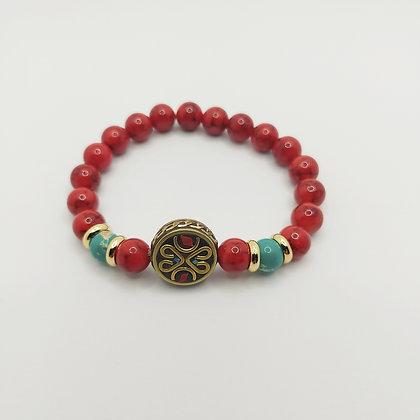 Bracelet jade rouge/jaspe impérial, perle tibétaine