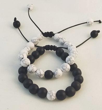 Bracelets couple howlite/agate noire