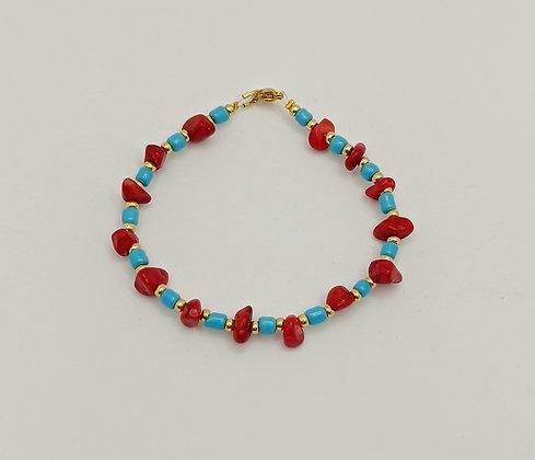 Bracelet doré/corail rouge/turquoise 1