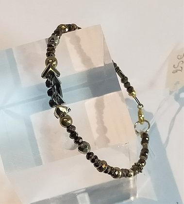 Bracelet perles facettes marron/doré