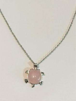 Collier pierre quartz rose/tortue