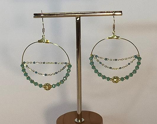 B.O. chaîne perles facettées turquoise/doré
