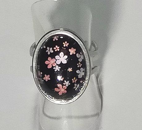 Bague réglable fleurs noir/blanc/rose