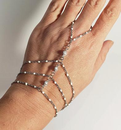 Bracelet-bague argenté/blanc
