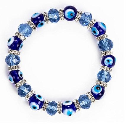 Bracelet perles œil bleu porte-bonheur
