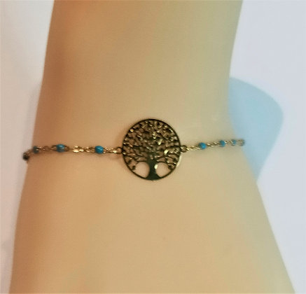 Bracelet doré/turquoise arbre de vie