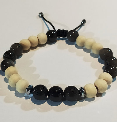 Perles en bois blanc naturel & obsidienne, ajustable