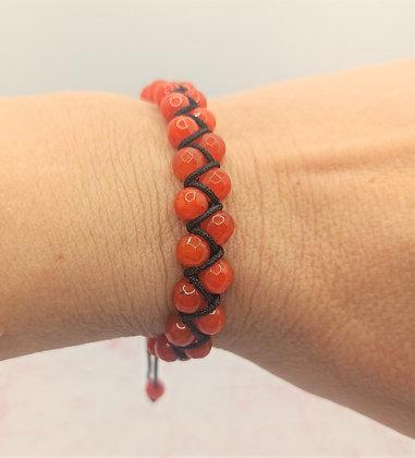 Bracelet double rang en perles de Jade orange