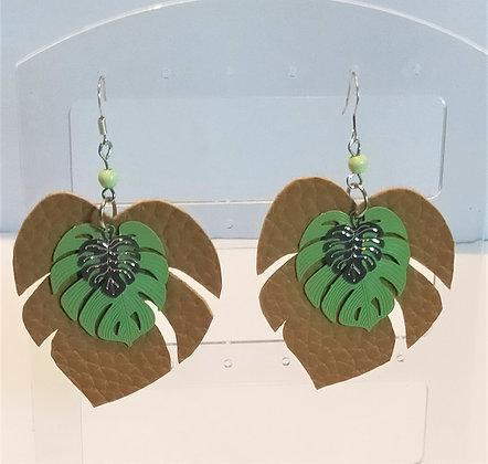 B.O. Similicuir feuilles de palmier