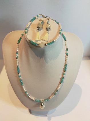 Parure 3pcs perles facettes blanc/turquoise