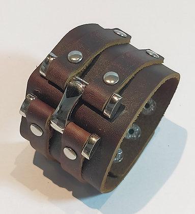 Bracelet cuir marron réglable 3 pressions