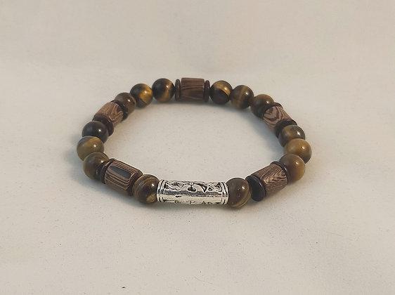 Bracelet bois / coco / œil de tigre