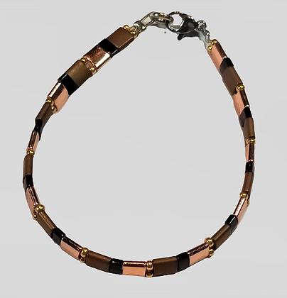 Bracelet hématite marron, noir, doré rose, argent