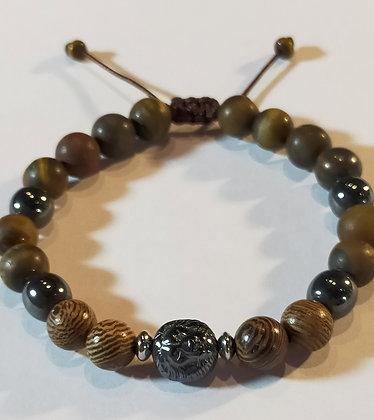 Perles en bois zébré, hématite, Œil de tigre mat, lion, ajustable