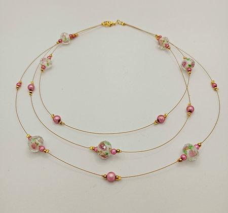 Collier triple en perles Murano et perles rose 3D