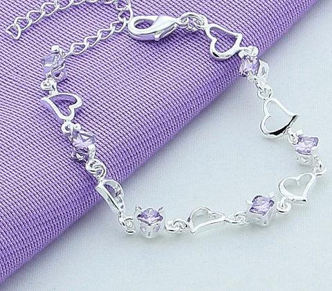 Bracelet en argent cœurs zircon violet