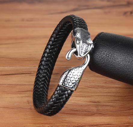 Bracelet en cuir véritable noir serpent 3
