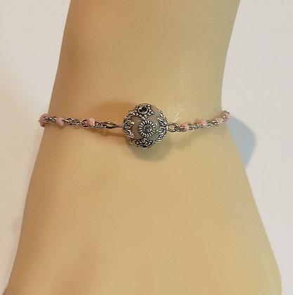 Bracelet argent/rose grosse perle