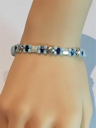 Bracelet duo argent/bleu/blanc