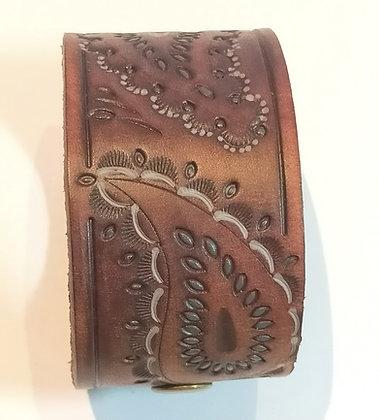 Bracelet cuir marron  réglable 2 pressions