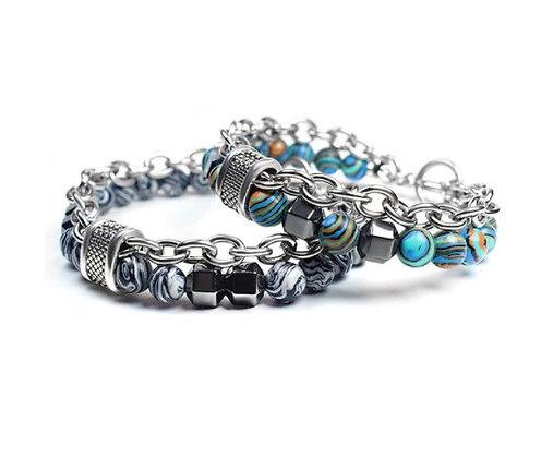 Bracelet en acier inoxydable Malachite