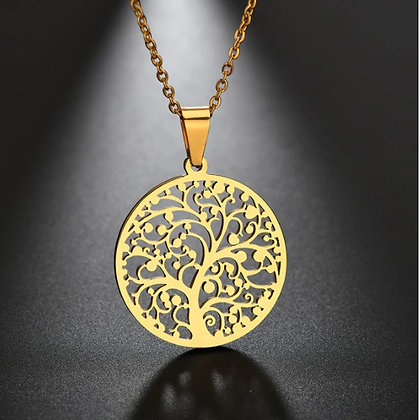Chaîne/pendentif arbre de vie doré