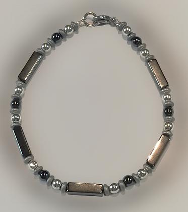 Bracelet hématite argenté, anthracite