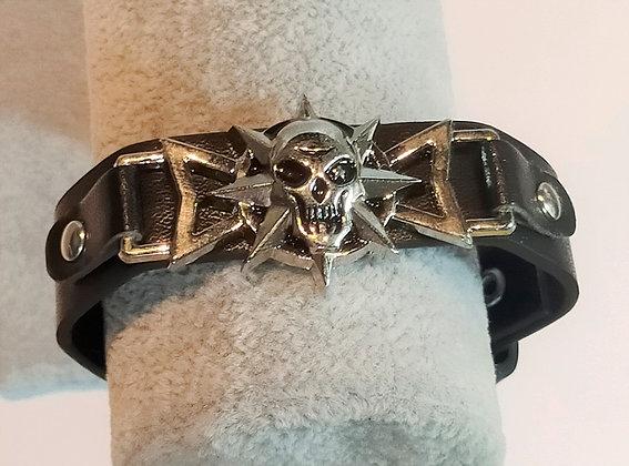 Bracelet noir cuir tête de mort réglable