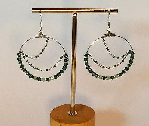 B.O. chaîne perles facettées vert foncé/vert clair/argenté