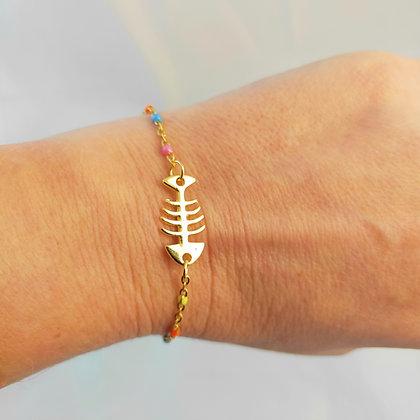 Bracelet arête de poisson multi-couleurs/doré