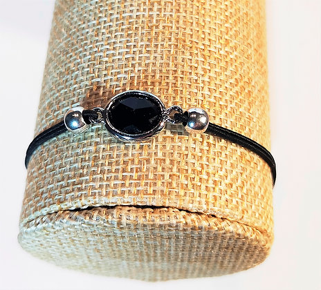 Bracelet élastique argenté/noir