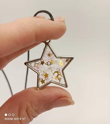 Pendentif résine étoile/argenté #3