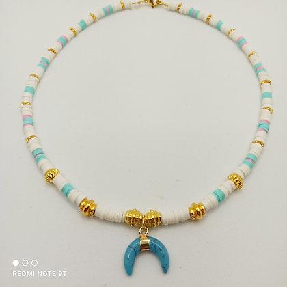 Tour de cou heishi blanc/turquoise/doré