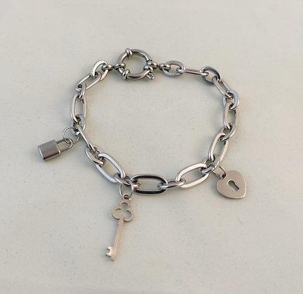 Bracelet grosse chaîne argenté clé/cadenas