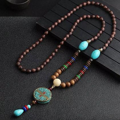 Collier Mala 108 perles bois Népal